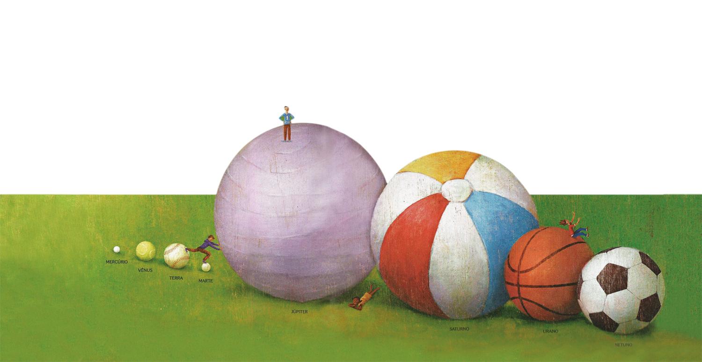 As bolas-planeta e seus tamanhos e massas: a Terra é uma bola de beisebol, Júpiter uma bolona daquelas de praia, o que preserva a relação de massa entre eles